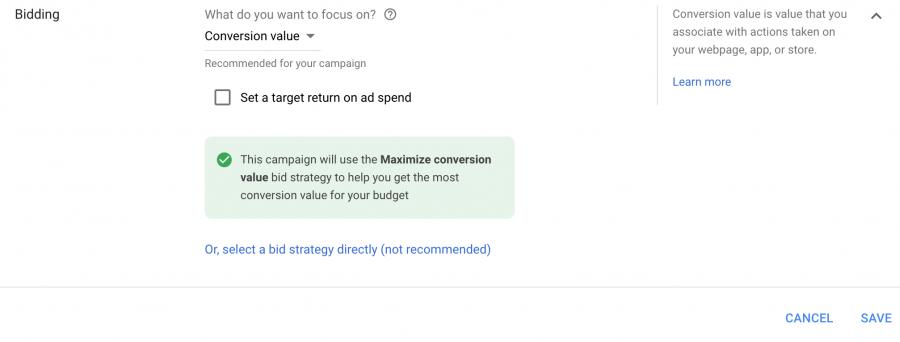 Maximize Conversion Value Smart Bidding Strategy   Google Ads