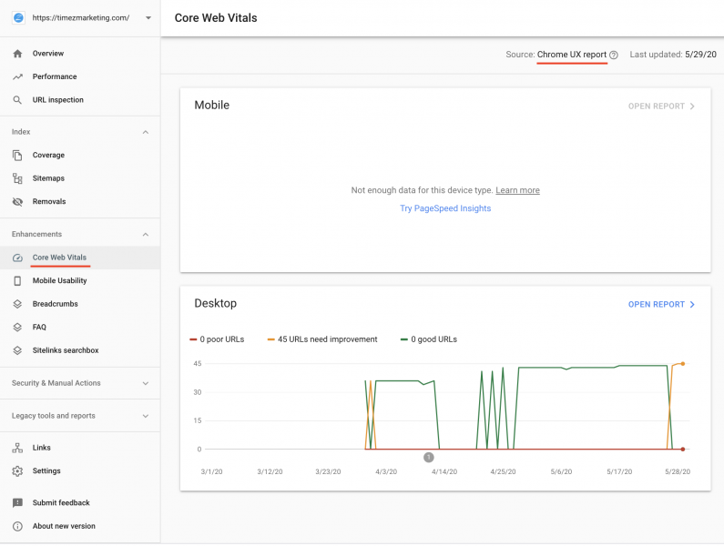 Google Search Console - Core Web Vitals Report