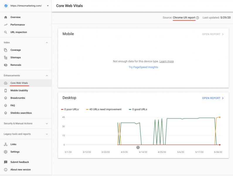 Google Search Console - Core Web Vitals Report